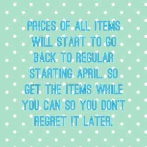 CHANGE OF PRICES